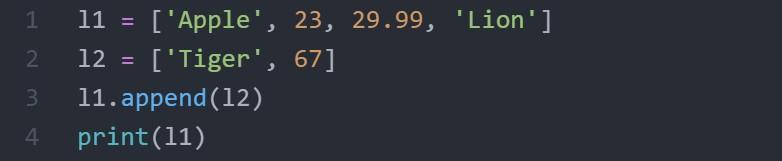 python list apend code