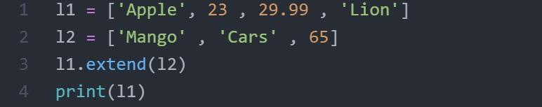 extend code in python list