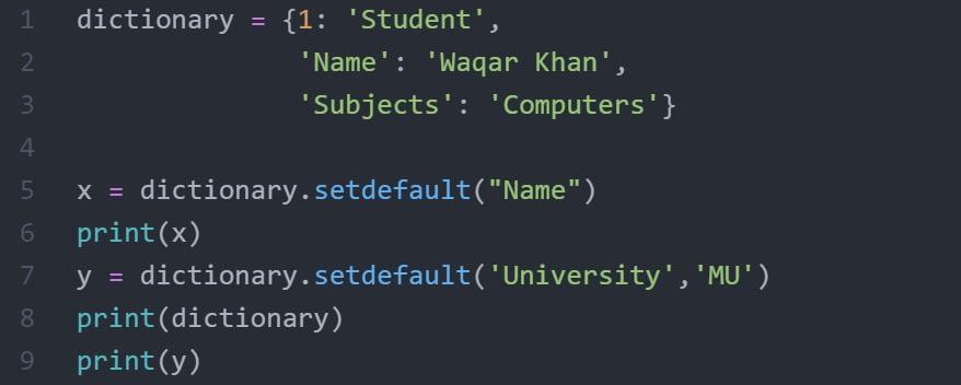 Python_Dictionary_setdefault()_Method