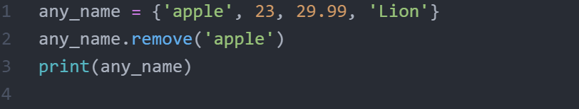 What is remove() method in sets